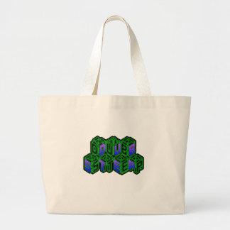 Mens Womens 3D Neon Cubes logo DUBSTEP Bag
