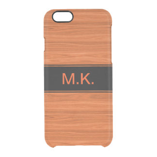Men's Wood Grain Look Clear iPhone 6/6S Case