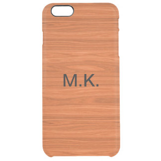 Men's Wood Grain Look Clear iPhone 6 Plus Case