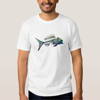 Mens yellow snapper fish skeleton shirt
