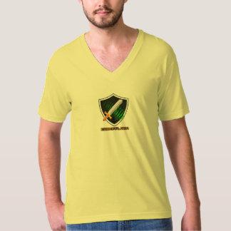 Men's yellow Vneck American Apparel CureFFI shirt