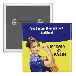 Mensaje adaptable Sarah Palin Pin Cuadrado