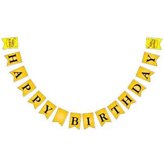 Mensaje amarillo del feliz cumpleaños de las banderines