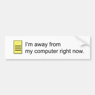 Mensaje ausente pegatina de parachoque