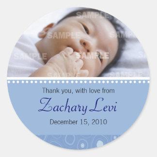 Mensaje azul del bebé de la pastilla de goma pegatina redonda