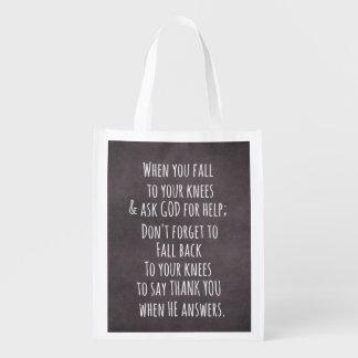 Mensaje cristiano inspirado de la cita bolsa de la compra