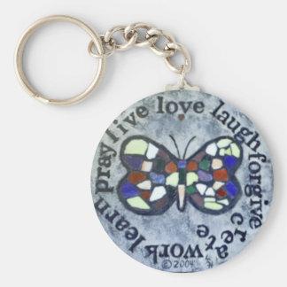 Mensaje de la mariposa llavero redondo tipo pin