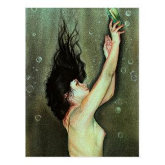 Mensaje de la sirena en una postal de la botella