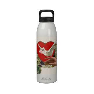 Mensaje de la tarjeta del día de San Valentín con Botella De Agua