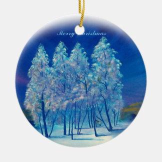 Mensaje de las Felices Navidad Adorno Navideño Redondo De Cerámica