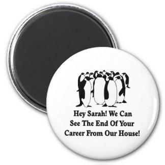 Mensaje de los pingüinos a Sarah Palin Imán Redondo 5 Cm