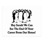 Mensaje de los pingüinos a Sarah Palin Postal