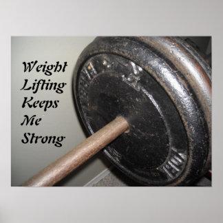 Mensaje de motivación del levantamiento de pesas póster