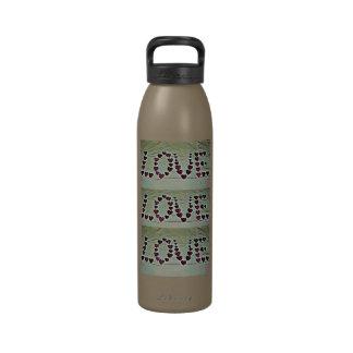 Mensaje del amor botella de agua