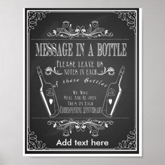 Mensaje del boda de la pizarra en una impresión de póster