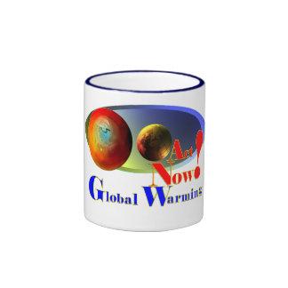 Mensaje del calentamiento del planeta taza de dos colores
