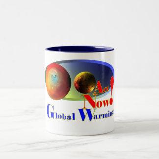 Mensaje del calentamiento del planeta taza de dos tonos