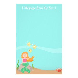 Mensaje del mar, sirena con los animales del océan papelería personalizada