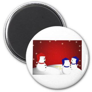 Mensaje del navidad del muñeco de nieve imanes
