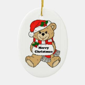 Mensaje del oso de peluche del navidad adorno navideño ovalado de cerámica