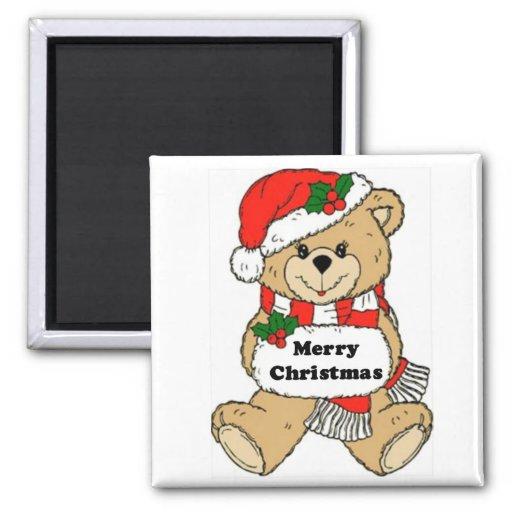 Mensaje del oso de peluche del navidad imán cuadrado