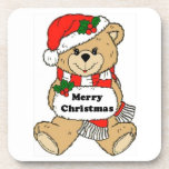 Mensaje del oso de peluche del navidad posavasos de bebidas
