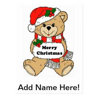 Mensaje del oso de peluche del navidad postal