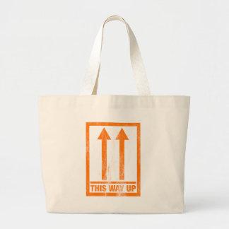 "Mensaje divertido de ""esta manera para arriba"" bolsa tela grande"
