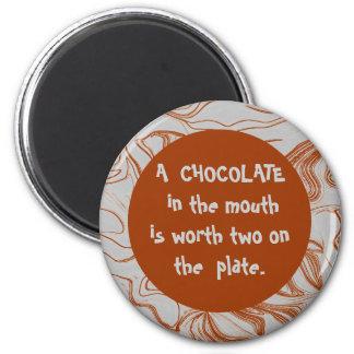 mensaje divertido del chocolate imán de nevera