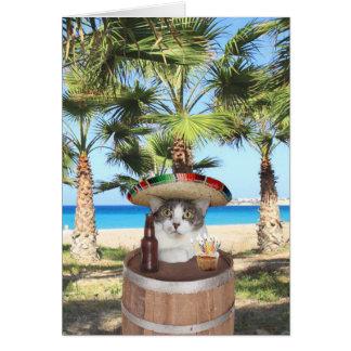 Mensaje divertido del cumpleaños del gato en tarjeta de felicitación