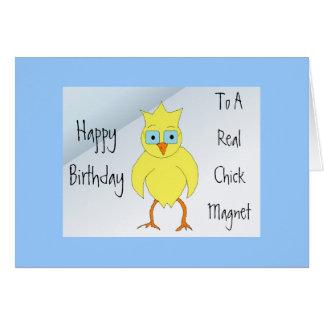 Mensaje divertido del cumpleaños del polluelo tarjeta de felicitación