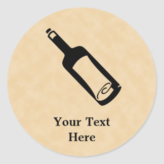 Mensaje en una botella pegatina redonda