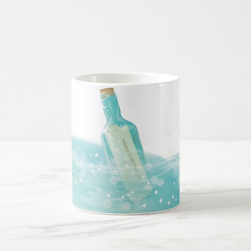 Mensaje en una botella taza mágica