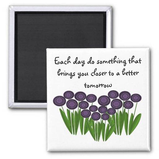 Mensaje inspirado floral púrpura imán para frigorífico