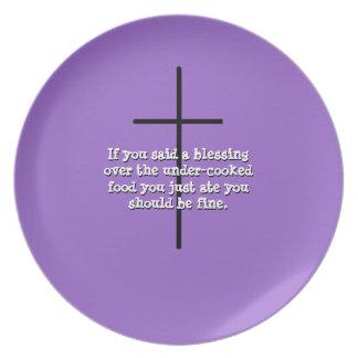 mensaje ocultado, bendiciendo sobre la placa de la plato para fiesta