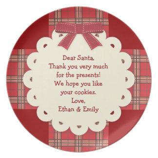 Mensaje para la placa de la galleta del navidad de platos de comidas