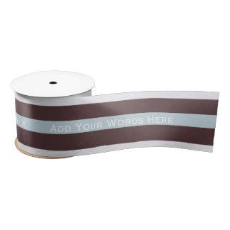 Mensaje personalizado: Azul, Brown y cinta blanca Lazo De Raso