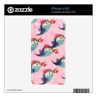 Mensaje rosado del secreto del amor de los pájaros calcomanías para el iPhone 4S