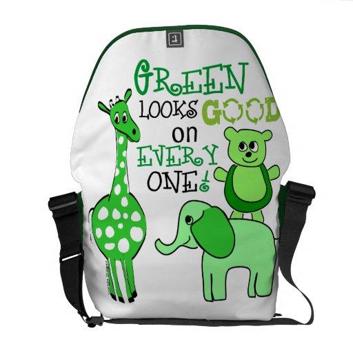 Mensaje verde del Día de la Tierra Bolsas De Mensajeria