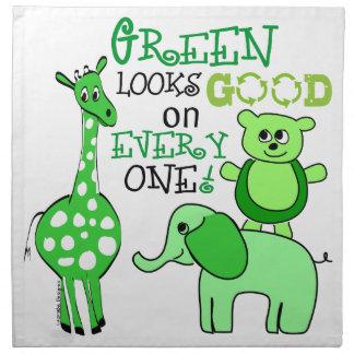 Mensaje verde del Día de la Tierra Servilleta De Papel