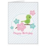 Mensaje verde del personalizado de las flores del  tarjetas
