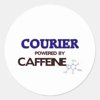Mensajero accionado por el cafeína pegatinas redondas