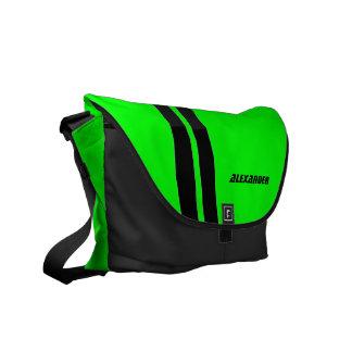 Mensajero verde de neón personalizado de la raya q bolsas messenger