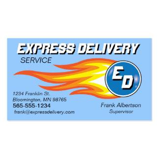 Mensajeros y bola de fuego del servicio de entrega tarjetas de visita