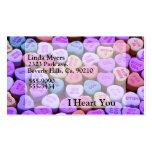 Mensajes del corazón del caramelo fijados plantilla de tarjeta de negocio