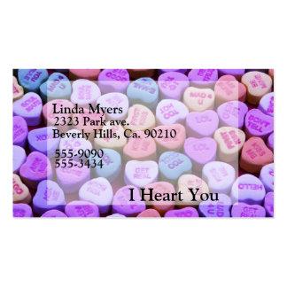 Mensajes del corazón del caramelo fijados tarjetas de visita