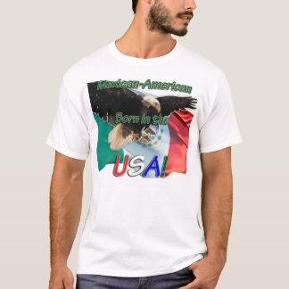 Mens's t Shirt USA w Eagle on Mex Flag