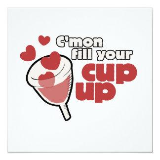menstrual cup humor 5.25x5.25 square paper invitation card