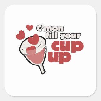 menstrual cup humor square sticker