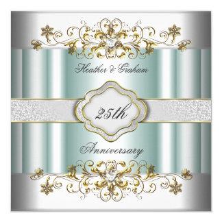 """Menta azul del 25to trullo de plata elegante del invitación 5.25"""" x 5.25"""""""